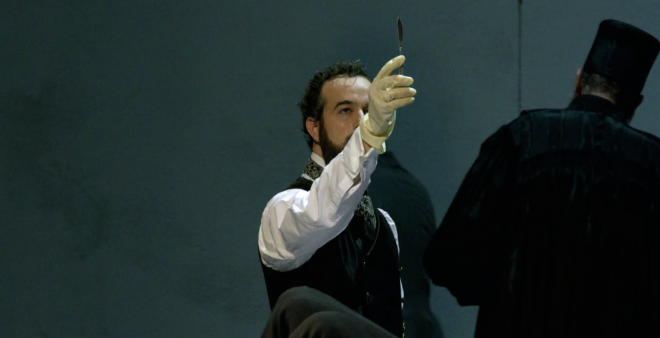 Adrian Erod playing Shylock